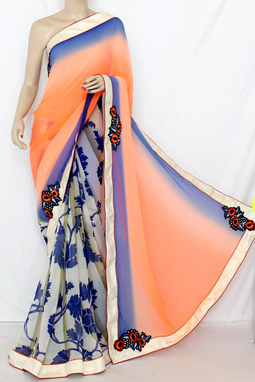 Orange & Blue Half-Half Saree Georgette Fabric (With attached Blouse) 13350