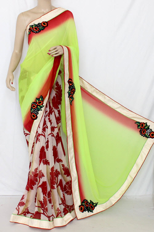 Parrot Green & Maroon Half-Half Saree Georgette Fabric (With attached Blouse) 13351