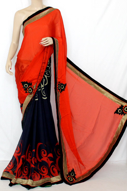 Rust & Nevy Blue Half-Half Saree Georgette Fabric (With attached Blouse) 13352