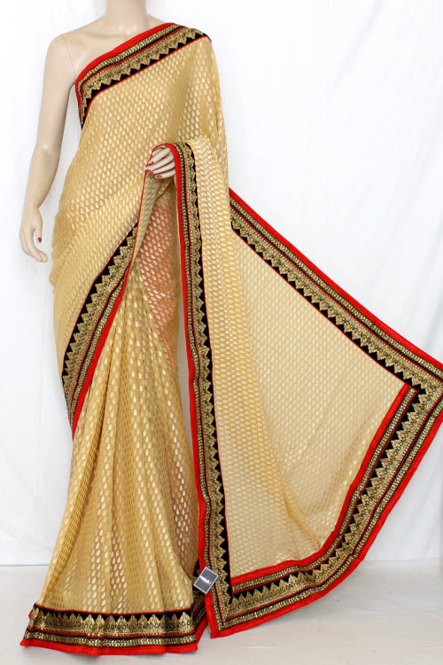 Fawn Exclusive Embroidered Saree Brasso Silk Fabric (With Contrast Red Blouse) 13367