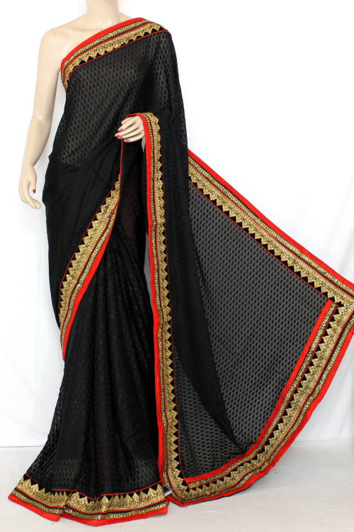 Black Exclusive Embroidered Saree Brasso Silk Fabric (With Contrast Red Blouse) 13368