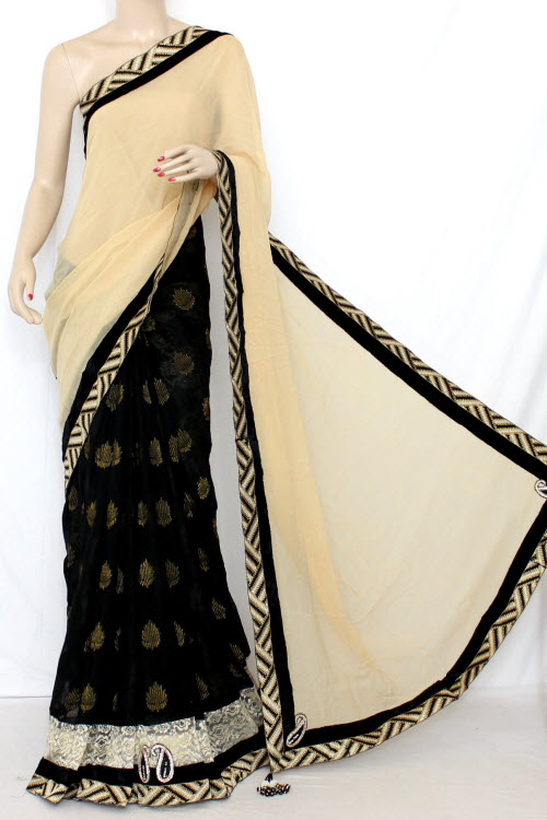 Fawn & Black Half-Half Saree Georgette Fabric (With attached Blouse) 13373