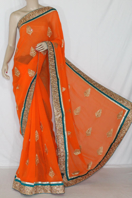 Orange Exclusive Embroidered Saree Crepe Georgette Fabric (With Contrast Blouse) 13391