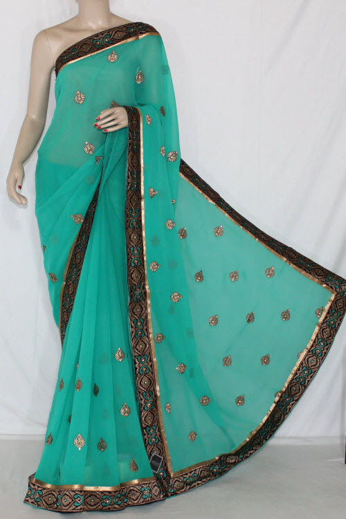 Green Exclusive Embroidered Saree Crepe Georgette Fabric (With Unstitched Blouse) 13393