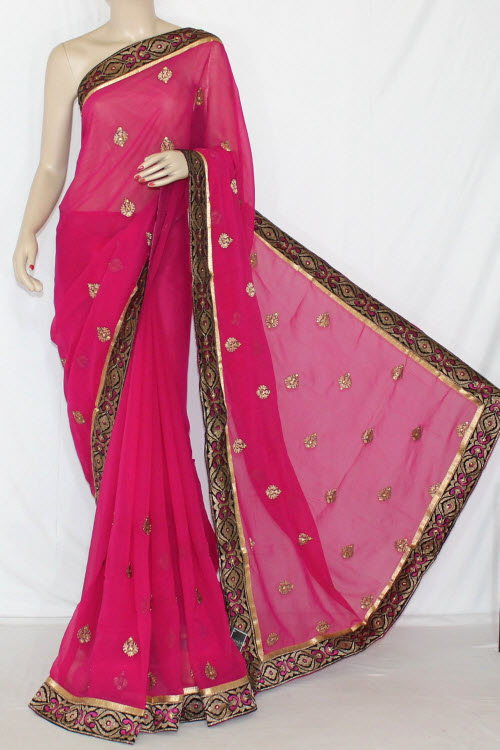 Magenta Exclusive Embroidered Saree Crepe Georgette Fabric (With Unstitched Blouse) 13394