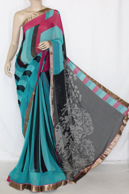 Sea Green Black Printed Georgette Saree (With Contrast Blouse) 13398
