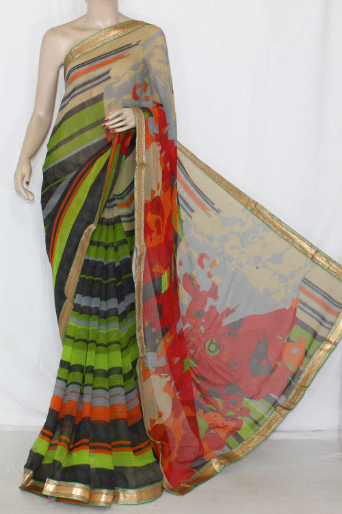 Parrot Green Orange Grey Printed Georgette Saree (With Contrast Blouse) 13399