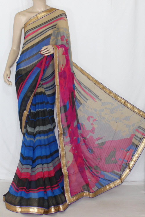 Grey Rani Blue Printed Georgette Saree (With Contrast Blouse) 13400