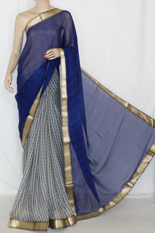 Blue Grey Half-Half Printed Silk Feel Saree (With Blouse) 13401