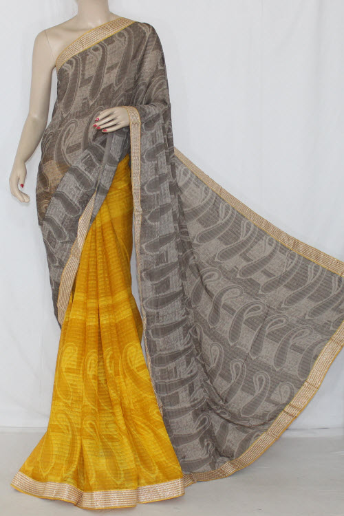 Yellow Brown Half-half Printed Georgettel Saree (with Blouse) 13403
