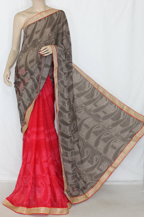 Pink Brown Half-Half Printed Georgettel Saree (With Blouse) 13404