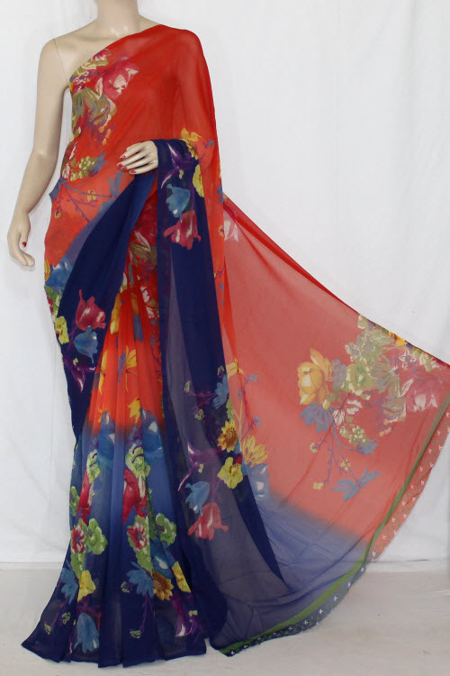 Orange Blue Printed Georgette Half-n-Half Saree (With Blouse) 13405