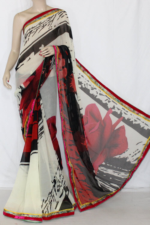 Off White Red-black Printed Semi-chiffon Saree (with Blouse) 13408