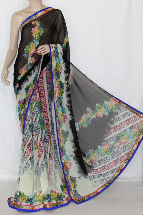 Cream-Black Printed Semi-Chiffon Saree (With Blouse) 13409