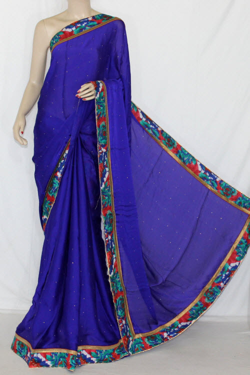 Royal Blue Satin-Chiffon Saree (With Printed Blouse) 13414