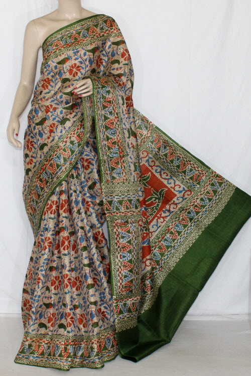 Green Batik Print Tusser Art Silk Printed Saree (With Blouse) 13416