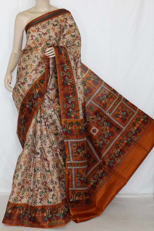 Mustared Figure Print Tusser Art Silk Printed Saree (With Blouse) 13418