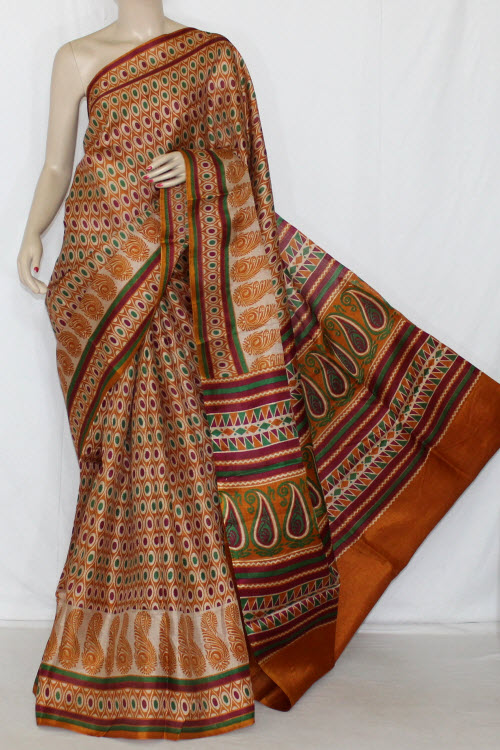 Mustared Bobby Print Tusser Art Silk Printed Saree (With Blouse) 13420