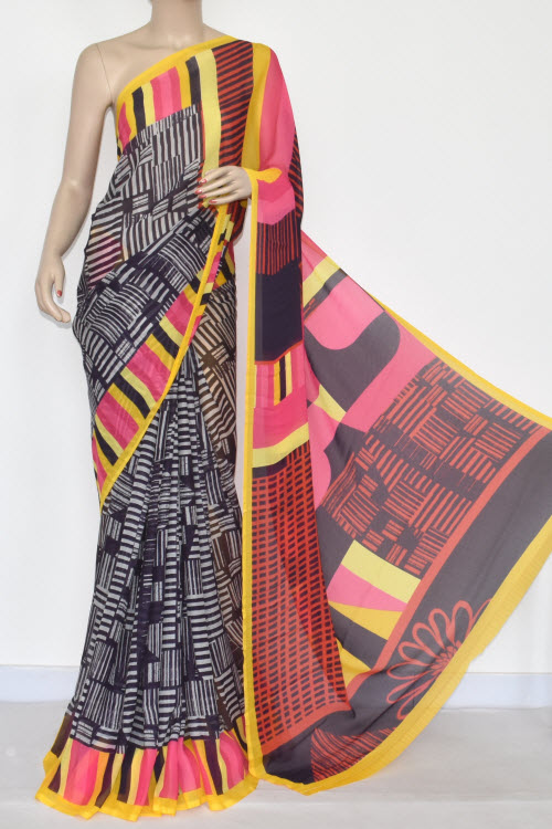 Navy Blue Pink Printed Wrinkle Georgette Saree (With Blouse) 13421