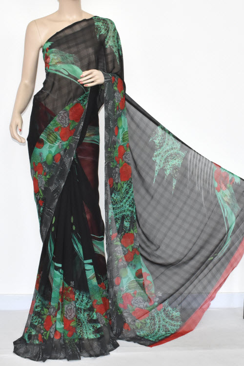 Black Printed Dx Georgette Saree (with Blouse) 13425