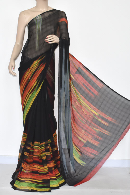 Multi-Color Printed Dx Georgette Saree (With Blouse) 13429