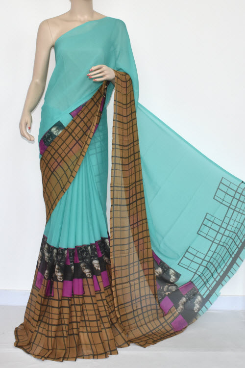 8a0a0a4418 Light Cyan Brown Printed Wrinkle Georgette Saree (With Blouse) 13432
