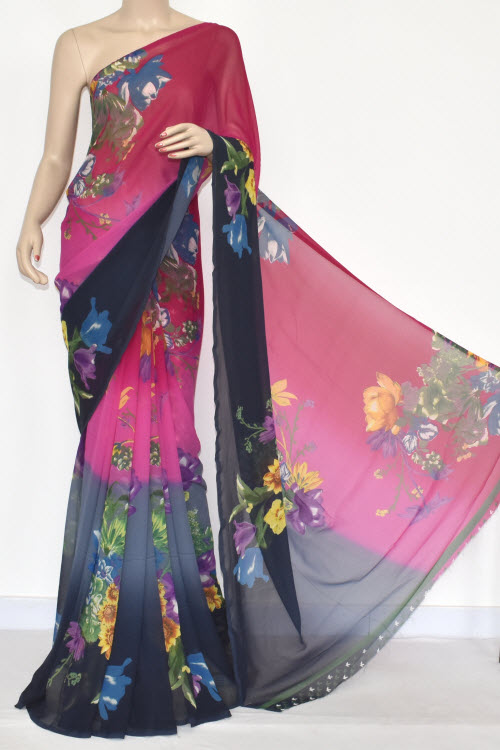 Rani Pink Dark Grey Printed Dx Quality Georgette Saree (With Blouse) 13437