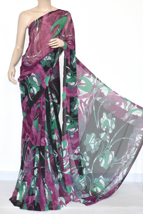Black Purple Printed Dx Quality Georgette Saree (With Blouse) 13440
