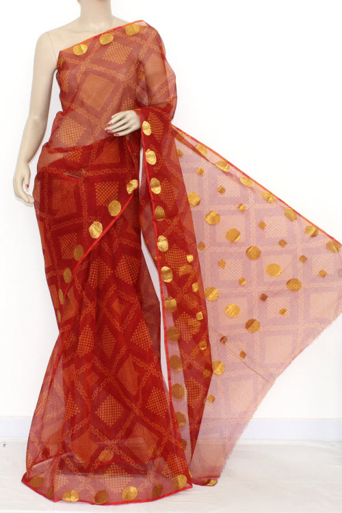 Red JP Kota Doria Chunri Print Cotton Saree (without Blouse) Zari Border & Pallu 13548