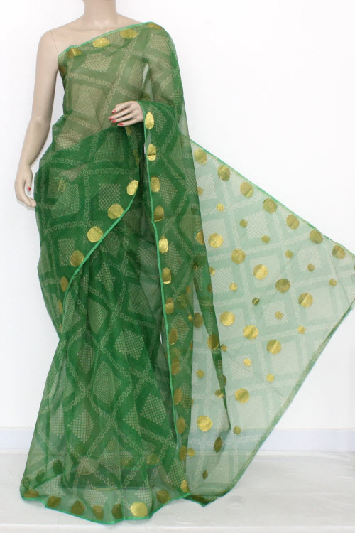 Green JP Kota Doria Chunri Print Cotton Saree (without Blouse) Zari Border & Pallu 13551