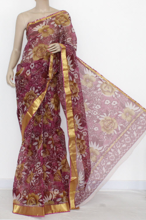 Purple JP Kota Doria Printed Cotton Saree (without Blouse) Zari Border & Pallu 13553