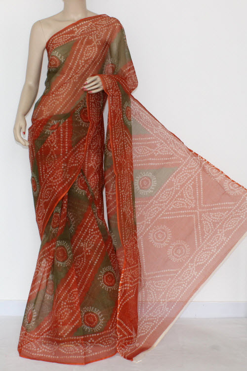 Rust Menhdi Green JP Kota Doria Chunri Print Cotton Saree (without Blouse) 13563