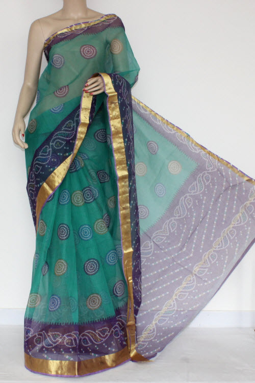 Sea Green Purple JP Kota Doria Printed Cotton Saree (without Blouse) Zari Border & Pallu 13569
