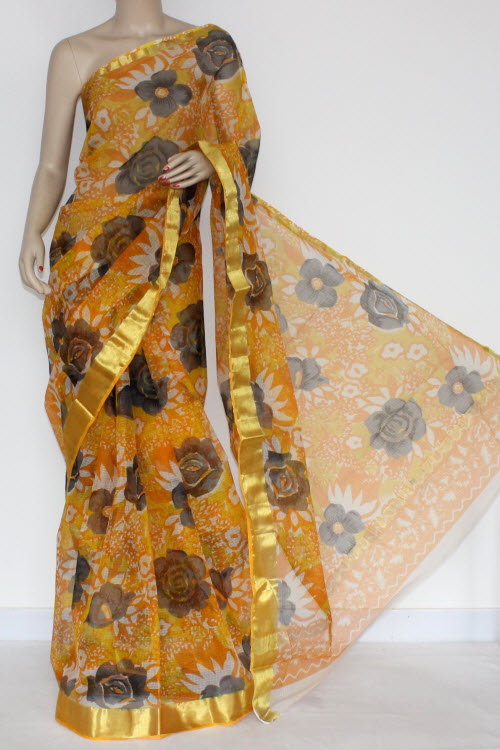 Yellow Orange JP Kota Doria Printed Cotton Saree (without Blouse) Zari Border & Pallu 13572