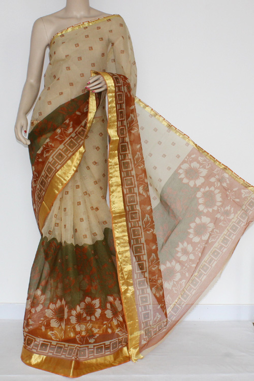 Menhdi Green Rust JP Kota Doria Printed Cotton Saree (without Blouse) Zari Border & Pallu 13573