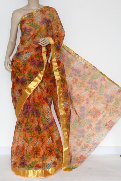 Peach JP Kota Doria Floral Printed Cotton Saree (without Blouse) Golden Zari Border 13579