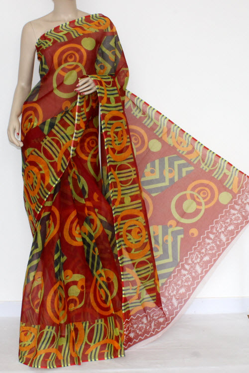 Maroon Green Yellow Real JP Kota Doria Chunri Printed Cotton Saree (without Blouse) 13581