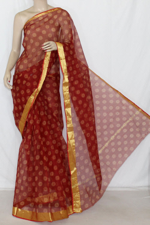 Maroon JP Kota Doria Chunri Print Cotton Saree (without Blouse) Golden Zari 13591