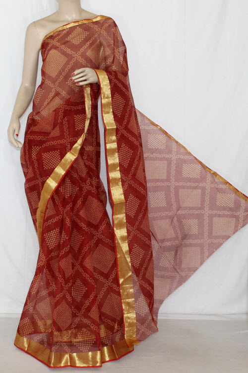 Maroon JP Kota Doria Chunri Print Cotton Saree (without Blouse) Golden Zari 13592
