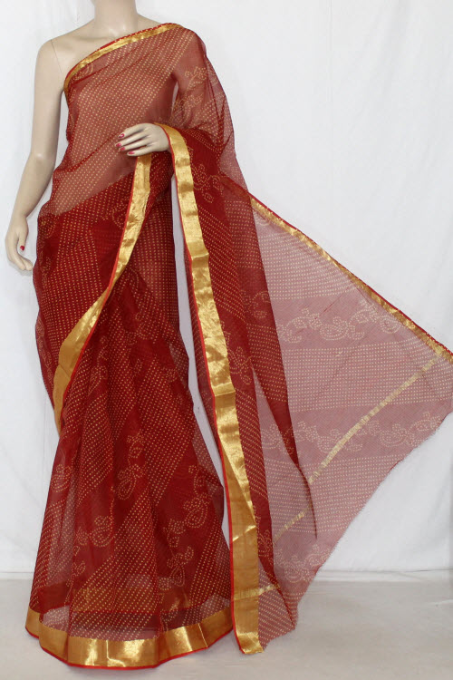 Maroon JP Kota Doria Chunri Print Cotton Saree (without Blouse) Golden Zari 13593