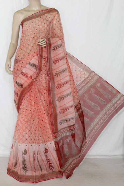 Peach JP Kota Doria Printed Cotton Saree (without Blouse) Golden Zari 13599