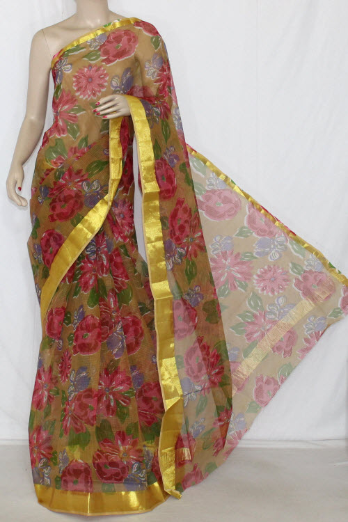 Mustared JP Kota Doria Printed Cotton Saree (without Blouse) Golden Zari 13606