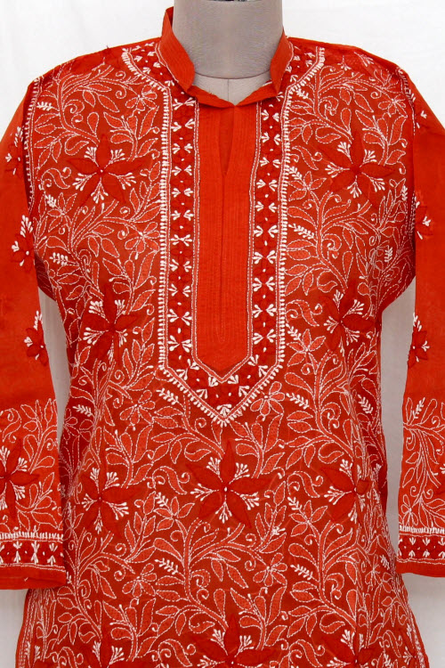 Rust Color Hand Embroidered Lucknowi Chikankari Long Kurti (Cotton) Bust-44 inch 13723
