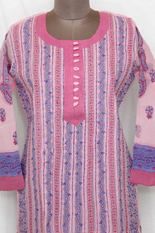 Pink Hand Embroidered Lucknowi Chikankari Long Kurti (cotton) Bust-42 Inch 13724