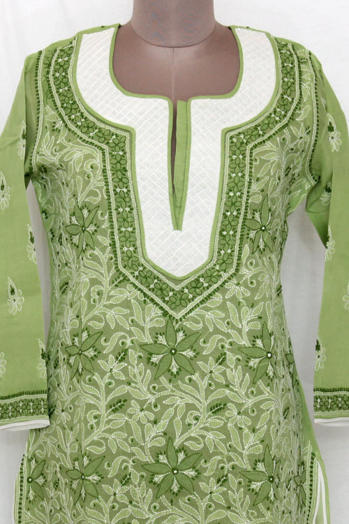 Pista Green Hand Embroidered Lucknowi Chikankari Long Kurti (Cotton) Bust-42 inch 13727