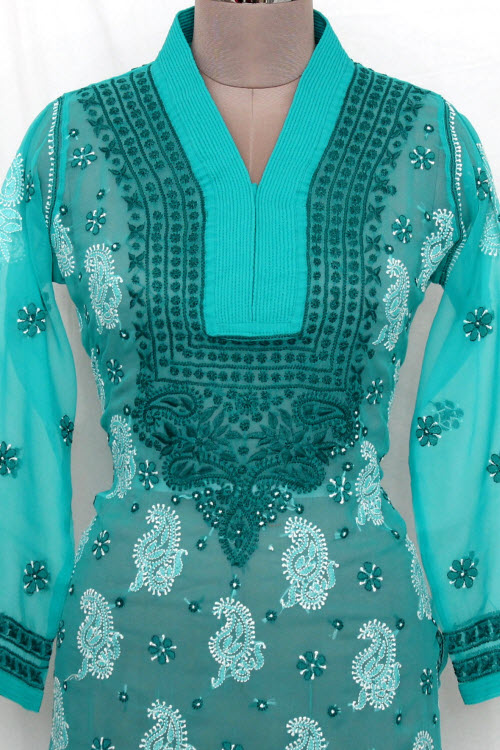 Sea Green Hand Embroidered Lucknowi Chikankari Long Kurti (Georgette) Bust-42 inch 13729