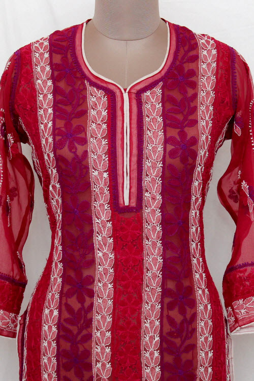 Maroon Hand Embroidered Lucknowi Chikankari Long Kurti (georgette) Bust-44 Inch 13731