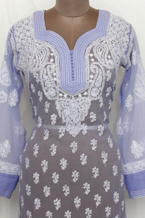 Lavender Hand Embroidered Lucknowi Chikankari Long Kurti (Georgette) Bust-40 inch 13733