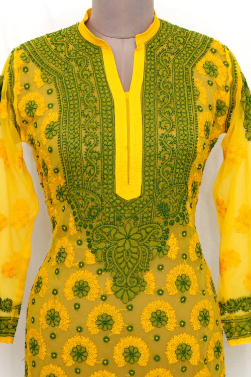 Deep Yellow Hand Embroidered Lucknowi Chikankari Long Kurti (Georgette) Bust-42 inch 13734