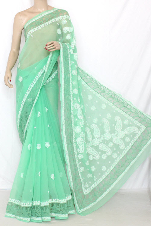 Pista Green Designer Hand Embroidered Lucknowi Chikankari Saree (With Blouse - Georgette) 13744